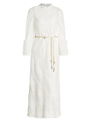 Freja Lace Pintuck Midi Dress by Zimmermann