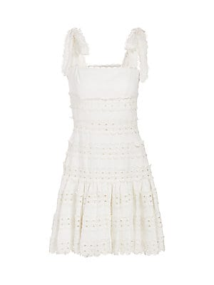 Kirra Tie Mini Lace Eyelet Linen A Line Dress by Zimmermann