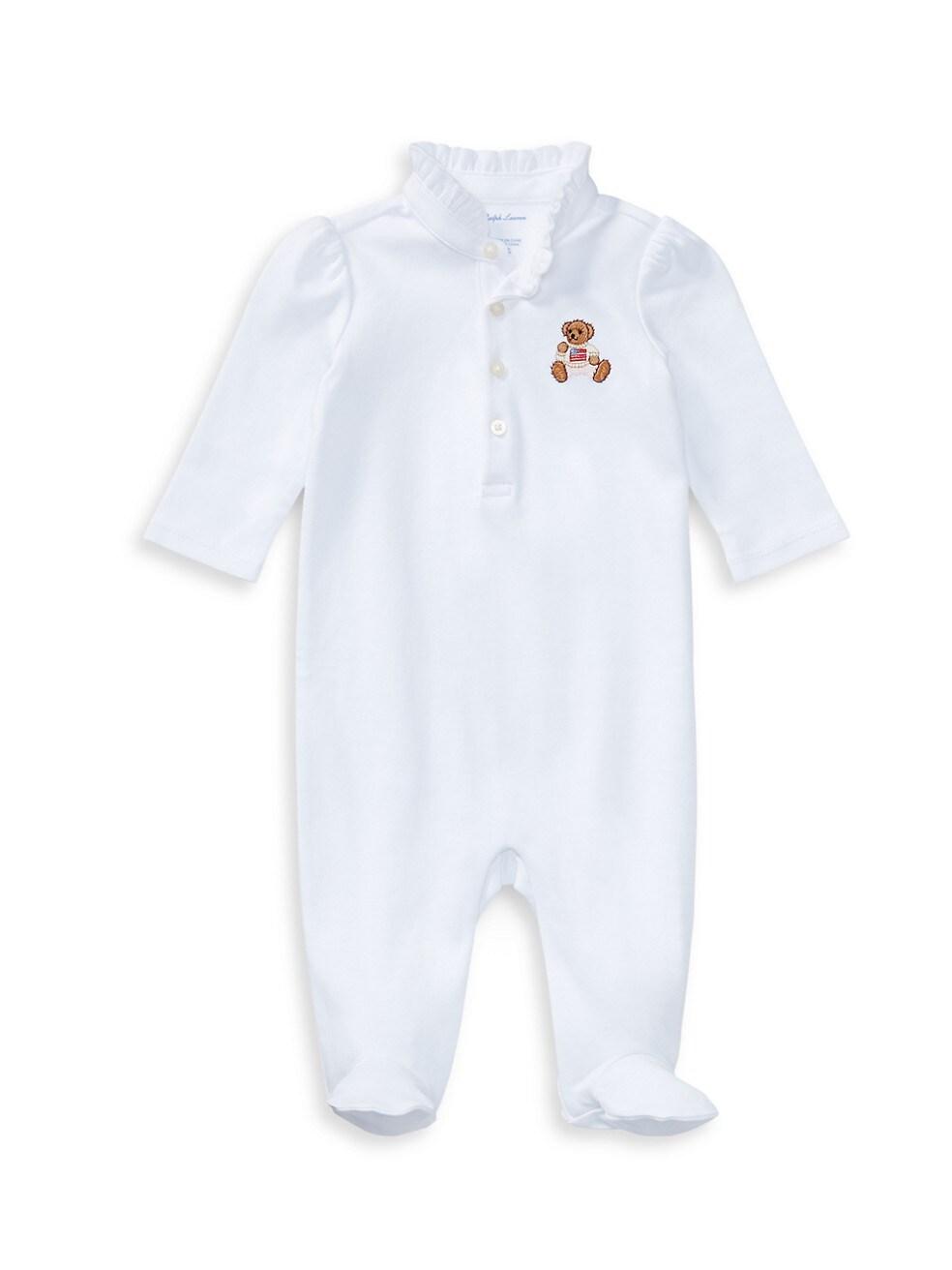폴로 랄프로렌 베이비 아기옷 우주복  Polo Ralph Lauren Baby Girls Polo Bear Embroidery Footie,WHITE