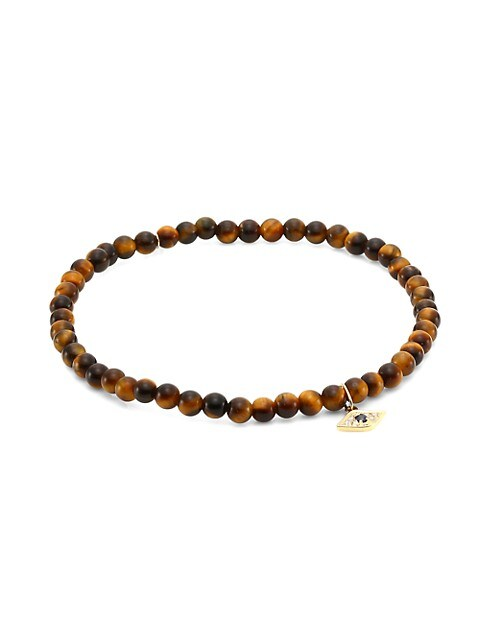 Love 18 14K Yellow Gold, Sapphire, Diamond & Tiger Eye Bead Bracelet