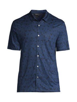 John Varvatos T-shirts Printed Linen Button-Down Shirt