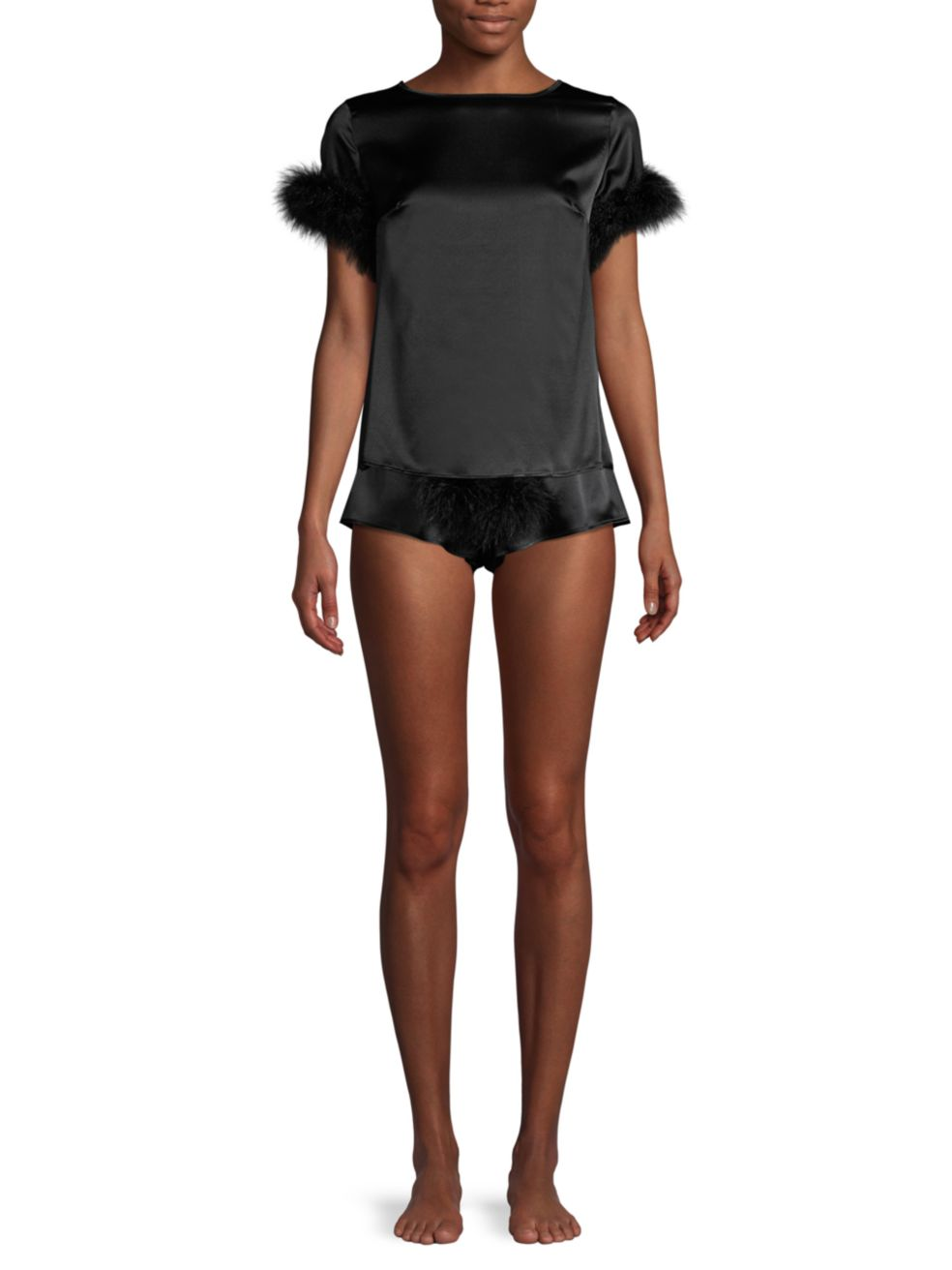 Gilda and Pearl Pillow Talk Ostrich Feather Silk Top   SaksFifthAvenue
