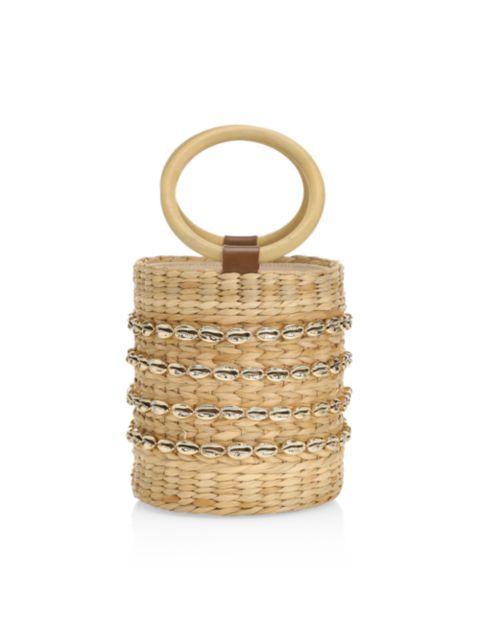 Poolside The Bobbi Shell-Embellished Straw Bucket Bag | SaksFifthAvenue