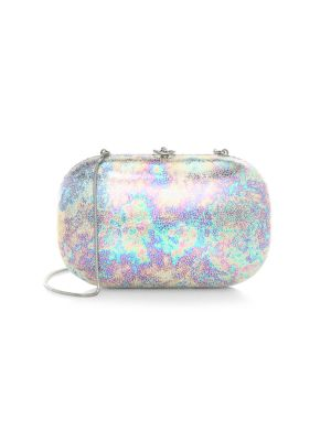 Jeffrey Levinson Elina Plus Iridescent Gloss Clutch In Silver