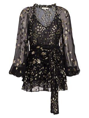 Loveshackfancy Rina Star Metallic Silk-Blend Mini Dress