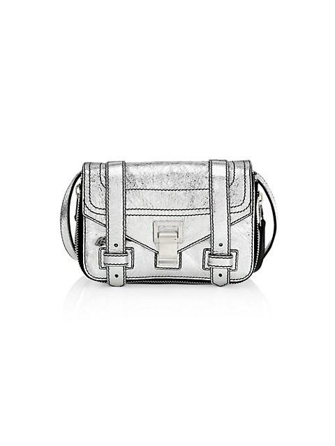 Mini PS1+ Zip-Around Metallic Leather Crossbody Bag