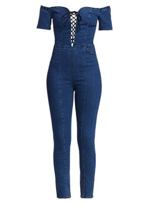 3x1 Suits Camille Lace-Up Denim Jumpsuit