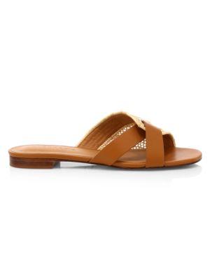 Ida Woven Raffia & Leather Sandals