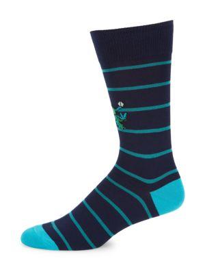 Paul Smith Men's Alien Striped Socks In Navy