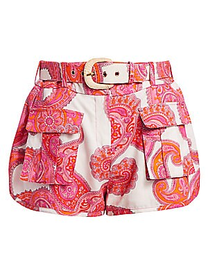 Peggy Paisley Linen Shorts by Zimmermann