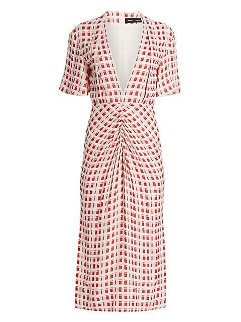 Plaid Jacquard Midi Dress