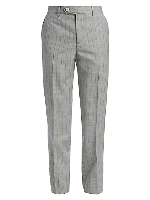 Striped Flat Front Virgin Wool Trousers