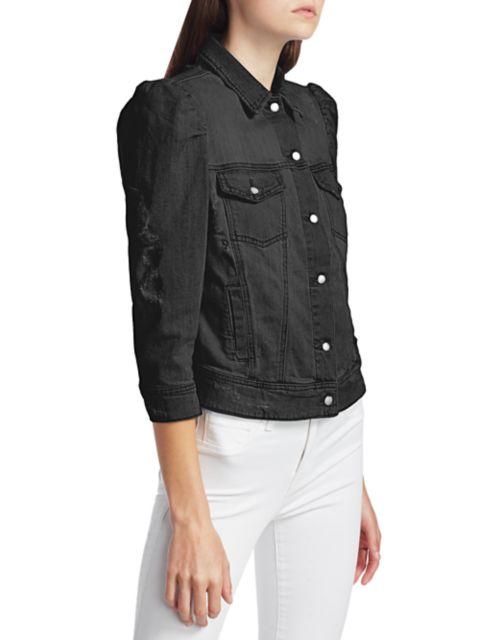 Retrofête Ada Puff-Sleeve Distressed Denim Jacket | SaksFifthAvenue