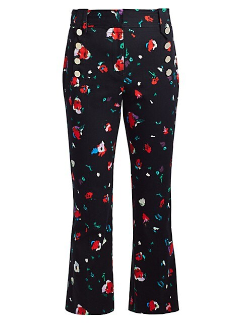 Floral High-Rise Cropped Pants