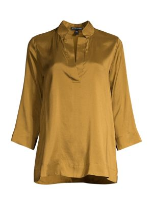 Eileen Fisher T-shirts Split Mandarin Collar Silk Shirt