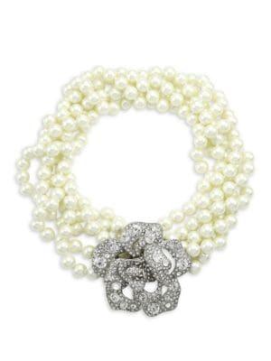 Kenneth Jay Lane Women's Glass Pearl & Crystal Flower Multi-strand Necklace In Silvertone