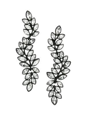 Kenneth Jay Lane Women's Black Enamel & Crystal Leaf Triple-drop Clip-on Earrings