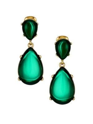 Kenneth Jay Lane Women's Emerald Resin Double-drop Clip-on Earrings In Yellow Goldtone