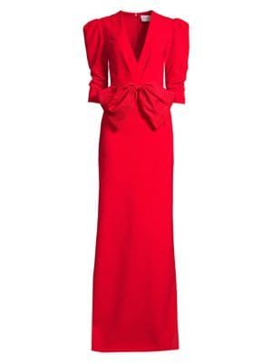 Sachin & Babi Chelsea Front Bow Puff-Sleeve Column Gown