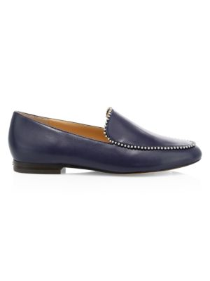 Coach Harper Bead-Trim Leather Loafers