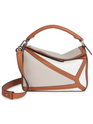 Loewe Women's Small Puzzle Leather Bag In White
