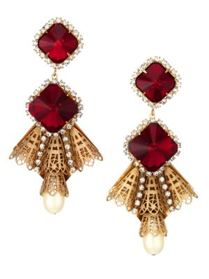 Kenneth Jay Lane Women's Antique Goldplated, Ruby Crystal & Faux-pearl Drop Clip-on Earrings In Yellow Goldtone