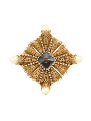 Kenneth Jay Lane Women's Antique Goldplated, Crystal & Faux-pearl Brooch In Yellow Goldtone