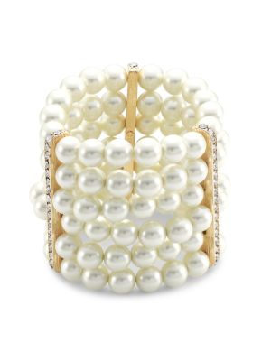 Kenneth Jay Lane Women's 6-row Glass Pearl & Crystal Station Stretch Bracelet In Yellow Goldtone