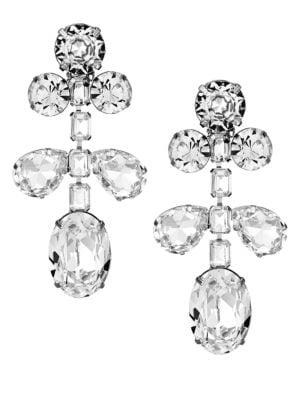 Kenneth Jay Lane Women's Crystal Drop Clip-on Earrings In Silvertone