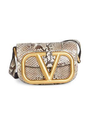 Valentino Garavani Small Supervee Python Saddle Bag In Grey Black