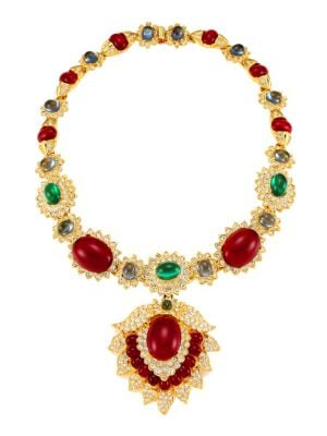 Kenneth Jay Lane Women's 22k Goldplated & Multi-stone Pendant Necklace In Yellow Goldtone