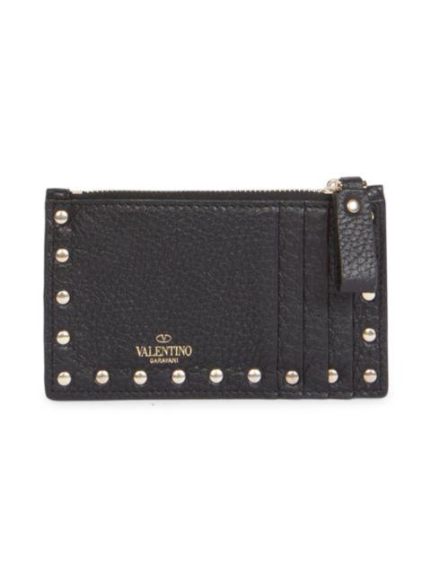 Valentino Valentino Garavani Rockstud Leather Zip Card Case | SaksFifthAvenue