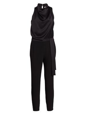 Halston Suits Draped Highneck Jumpsuit