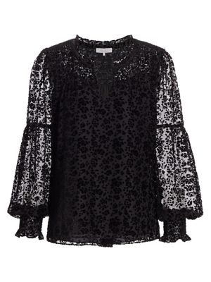 Parker Tops Craig Sheer Velvet Burnout Floral Blouse