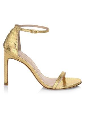 Stuart Weitzman Women's Nudistsong Ankle-strap Metallic Snakeskin-embossed Leather Sandals In Gold