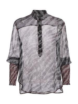 Rag & Bone Tops Maris Sheer Silk Print Blouse