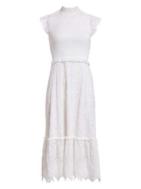 Sea Zipper Smocked Midi Dress | SaksFifthAvenue