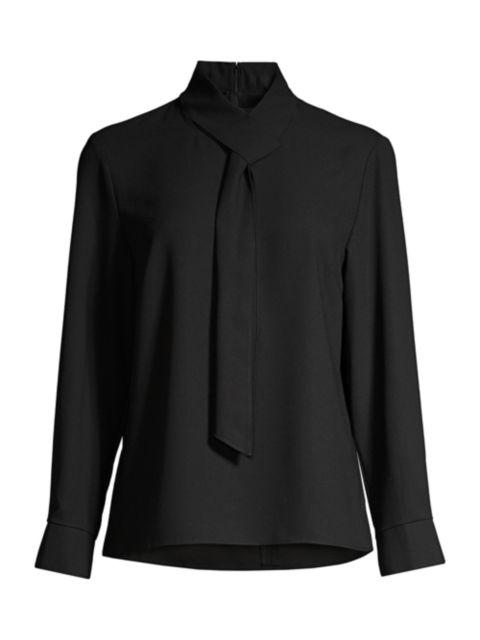 Misook Loop-And-Tie Neck Shirt | SaksFifthAvenue