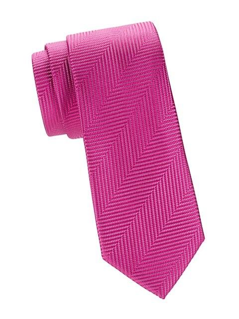 Diagonal Herringbone Silk Tie