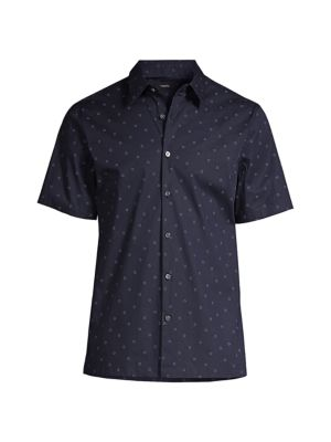 Theory Men's Irving Short-sleeve Circuit-print Shirt In Frost