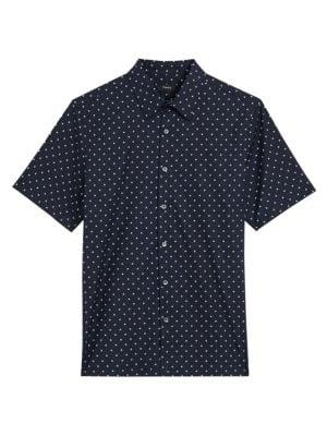 Theory Irving Short-Sleeve Rhombus-Print Shirt