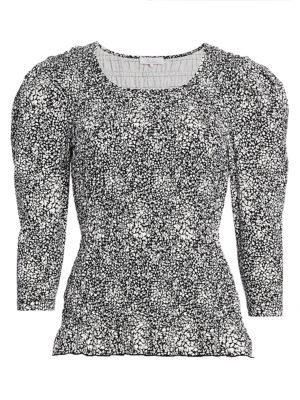 Parker Capella Print Puff-Sleeve Top