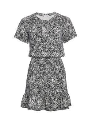 Parker Burke Print Blouson Ruffle Dress