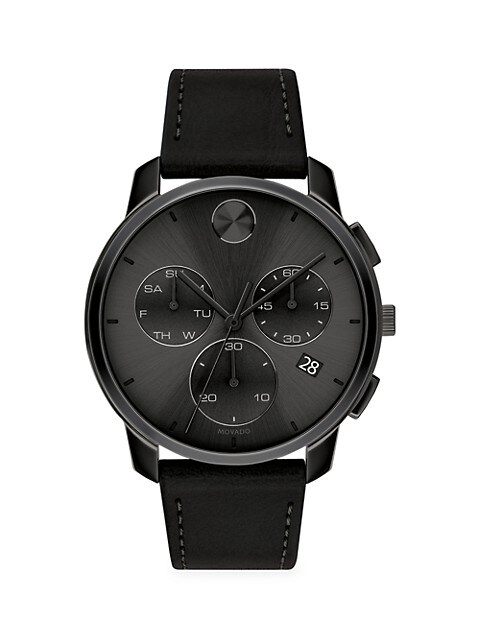 BOLD Chronograph Stainless Steel & Leather Strap Watch