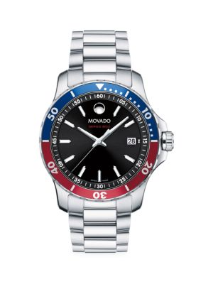 Movado Men's Series 800 Stainless Steel Bracelet Watch In Black