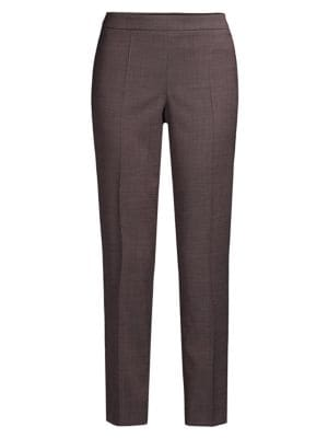 Hugo Boss Women's Tiluna Side Zip Minidessin Stretch Wool Blend Cropped Trousers In Grenadine