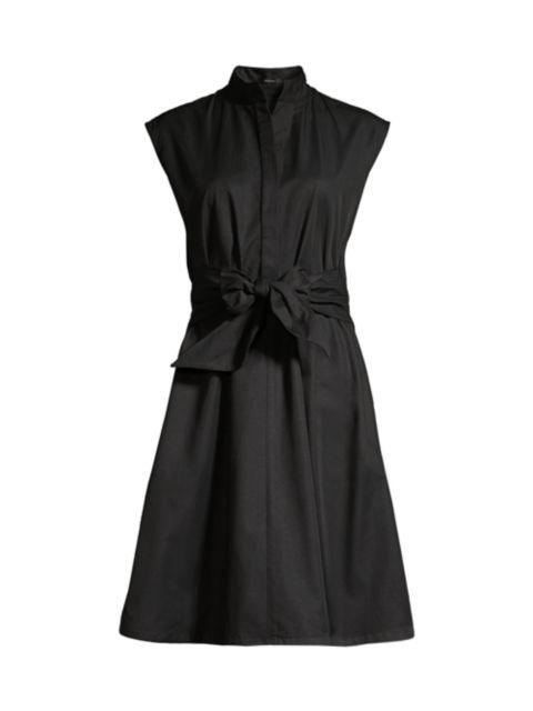Josie Natori Cap-Sleeve Taffeta Flare Dress | SaksFifthAvenue