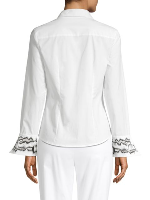 Josie Natori Embroidered Cuff Poplin Button Down Tunic   SaksFifthAvenue
