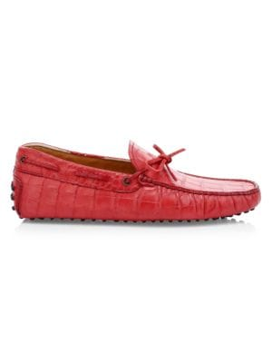 Tod's Men's Lacetto Gommino Leather Drivers In Red