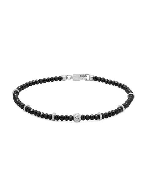 Sterling Silver & Black Spinal Beaded Bracelet